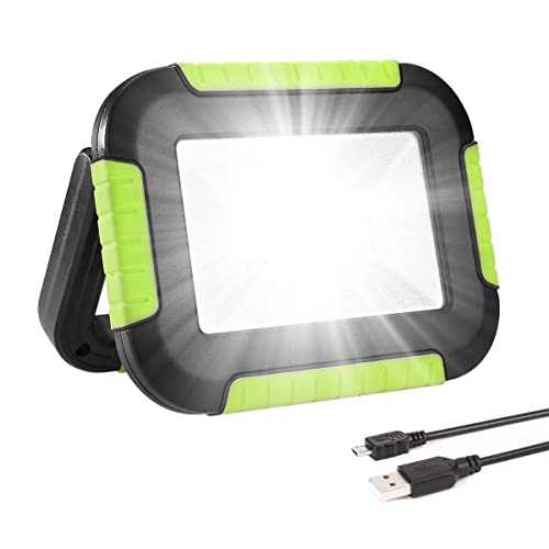 longdafei 2-Pack Portable LED Work Light Rechargeable Floodlights with USB,Spotlight Waterproof Outdoor for Car Repairing Camping Traveling Fishing and Job Site Lighting