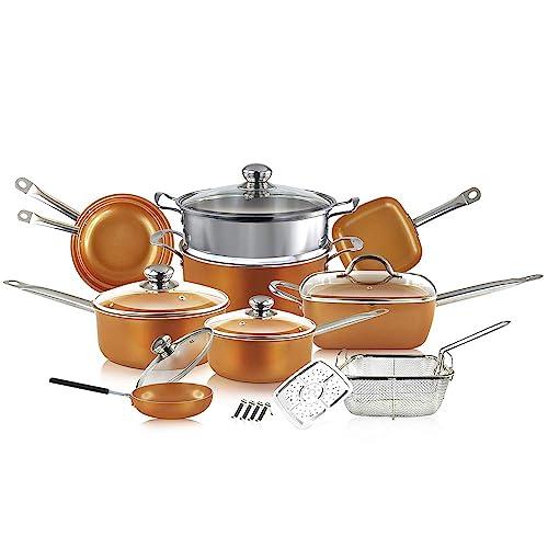 20PC Copper Coated Cookware Set Includes Frying Pan,Saucepan,Copper Pots /& Pans