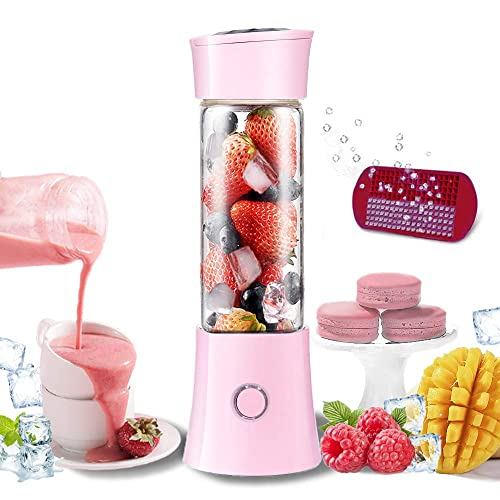 Pink With 400ml High Borosilicate Glass Cup Portable Electric Juicer Cup USB Rechargeable Personal-size Blender Used at Home And Outdoor