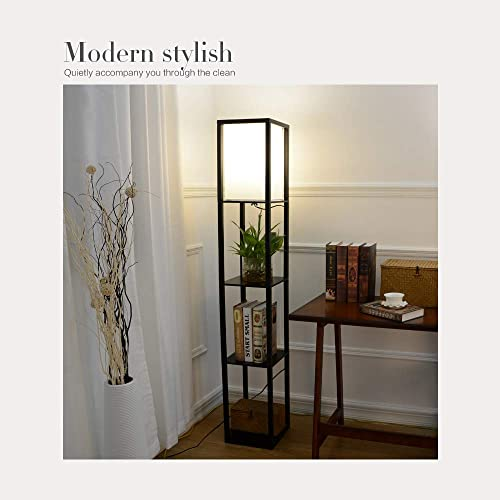 Oak Wooden Floor Lamp with Built In Shelf 3 Layers Wooden Shelf Floor Stand Lamp Modern Stylish Wood and Fabric Floor Lamp for Reading Studying Resting Organising in Living room Bedroom Hallway Office