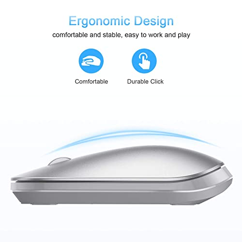 Support iPadOS Ultra-thin Portable Bluetooth Mouse iOS Mac OS White BT5.0 for Computer Not Rechargeable Laptop OMOTON Wireless Bluetooth Mouse Linux Android System Tablet and More Windows