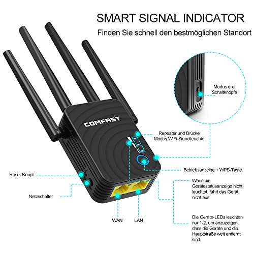 1200Mbps Wifi Extender Universal Dual Band 5GHz 867Mbit//s 2.4GHz 300Mbit//s Internet Booster Support AP//Repeater//Router//Client Mode with WPS Function for Cover a wider range of WIFI Wifi Booster