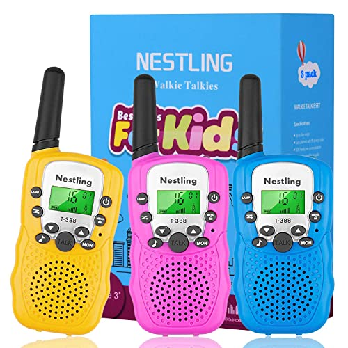 Nestling Walkie Talkies for Kids 2 Pack, Blue 22 Channels 2 Way Radio Toys 3KM Long Range with Rechargeable Battery and USB//AC Wall Charger for Indoor Outdoor Activity
