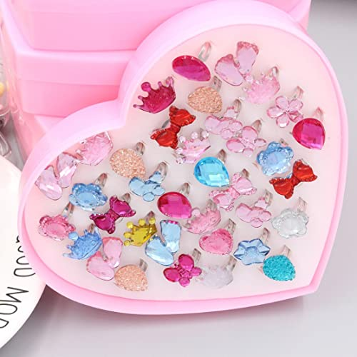24 Pieces Little Girls Crystal Adjustable Rings Princess Dress Up Jewelry Ring
