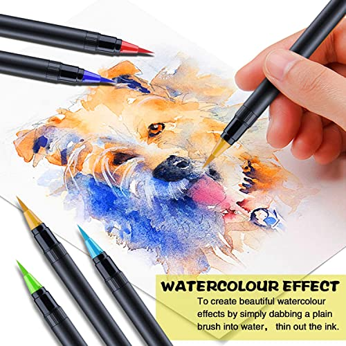2 Drawing... 1 Water Zacro 24 Colors Watercolour Brush Pen Set