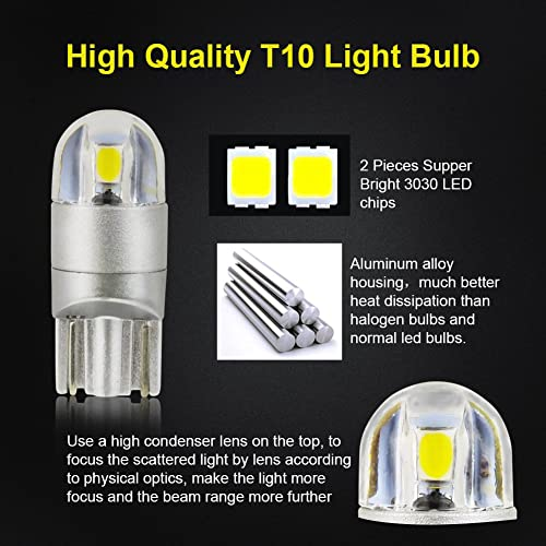 GLL T10 501 LED Bulbs Ceramic Green T10 196 168 W5W LED Bulbs with 3-2835-SMD for Car Interior Lights Dome Lights Truck Lights License Plate Lights Courtesy Lights