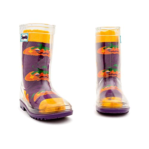 Kids Welly Socks Wellington Rainboots Squelch Washable and Re-usable Childrens Colouring Sock For Ages 1-2