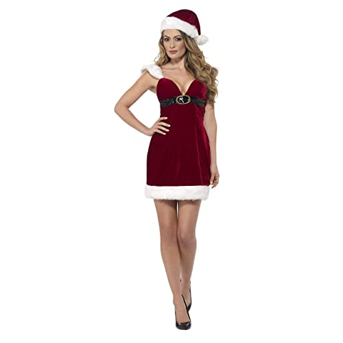 S Miss Santa Fleece Christmas Fancy Dress Costume Adult 8//10 UK