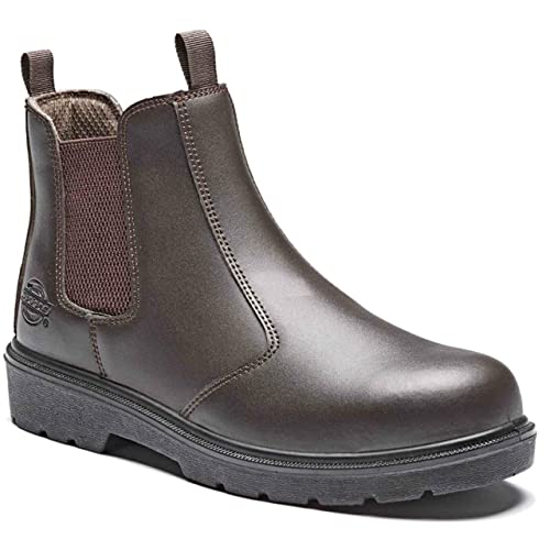 MENS LEATHER MIDSOLE  ANKLE CHELSEA DEALER STEEL TOE CAP SAFETY WORK BOOTS SHOES