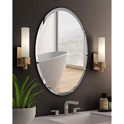 Kohros Oval Beveled Polished, Oval Frameless Bathroom Mirror