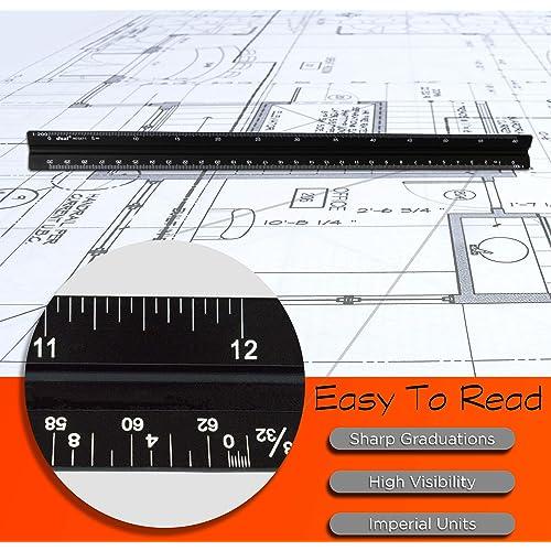 HosDen Black Metal Engineer Scale Ruler Metric for Architect Matrix 30cm Solid Aluminium Ruler : 1:20 1:100 1:25 Protective Bag 1:75 1:50 1:125 Triangular Scale Ruler