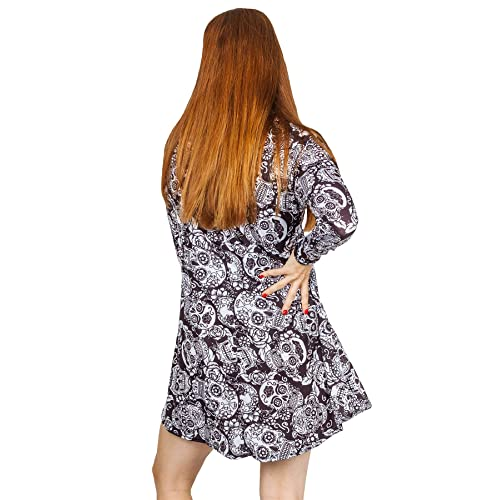 Womens Skeleton Bones Fancy Dress Halloween Party Mini Bodycon Dress Size 8-26
