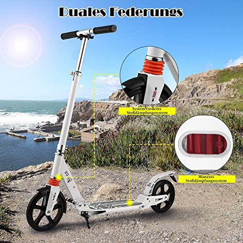 Weight 200mm Big Wheels OUTCAMER Adult Scooter Teenager Foldable 3 Levels Adjustable Height 2-Wheel Kick Scooter with Rear Fender Brake for Teens Young Women Men Support 100KG 220lbs